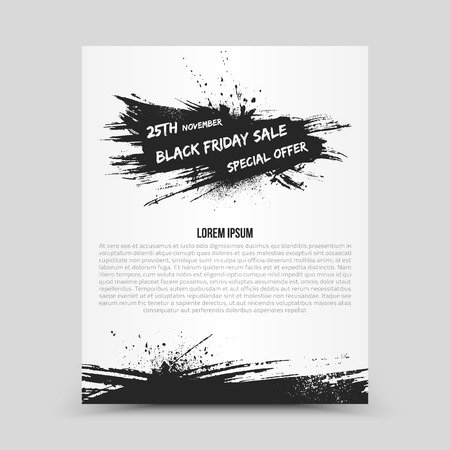 blots: Vector isolated bright flyer design template Black Friday Sale. Abstract hand made grunge illustration on white background for advertise, promote, business. Handicraft art ink scatter blot and smear