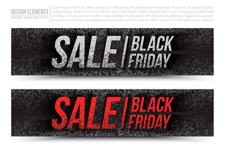 business letters: Black Friday Sale vector web banners set in grunge style on white background. Design elements template for digital marketing, promotion and business. Illustration 3d dirty letters, scatter spray ink