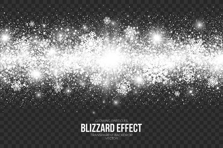透明な背景イラストを雪ブリザード効果。