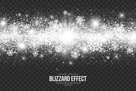 Snow Blizzard Effect on Transparent Background Illustration.