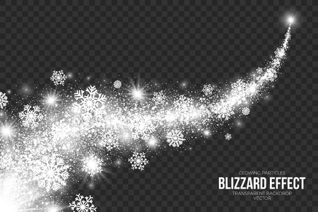 Snow Blizzard Effect on Transparent Background Illustration.