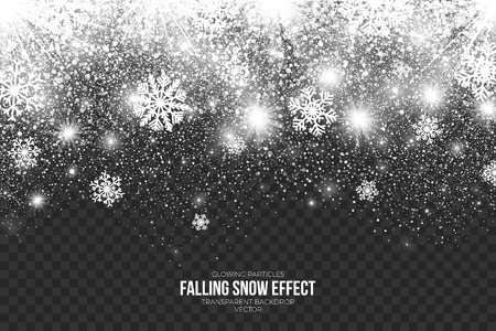 Falling Snow Effect on Transparent Background Illustration.