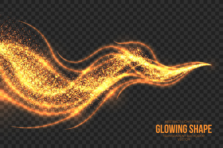 spark: Abstract bright golden shimmer glowing burning shape on transparent background illustration