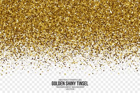 黄金の光沢のある見掛け倒しの正方形粒子のベクトルの背景