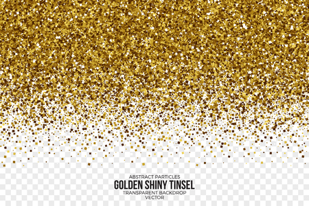 Golden Shiny Tinsel Square Particles Vector Background Illustration