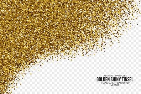 placer: Golden Shiny Tinsel Square Particles Vector Background Illustration