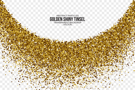 trumpery: Golden Shiny Tinsel Square Particles Vector Background Illustration