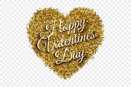 Golden Shiny Tinsel Heart Vector Background