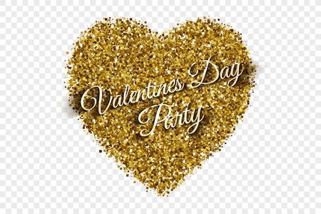 trumpery: Golden Shiny Tinsel Heart Vector Background