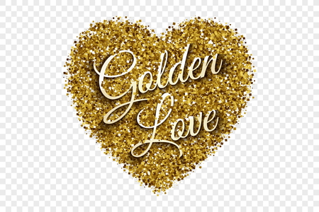 felicitation: Golden Shiny Tinsel Heart Vector Background