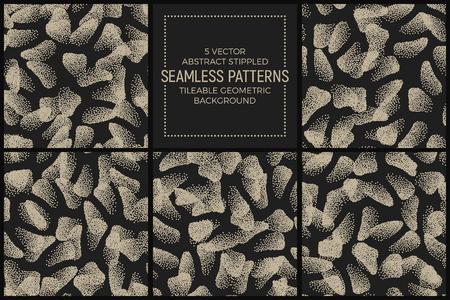 Ensemble de 5 vecteurs abstrait Stippled Seamless Patterns. Fond d'écran géométrique géométrique à carreaux fabriqué à la main