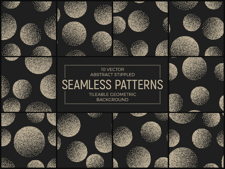 stippled: Set of 10 Vector Abstract Stippled Seamless Patterns. Handmade Tileable Geometric Dotted Grunge Background