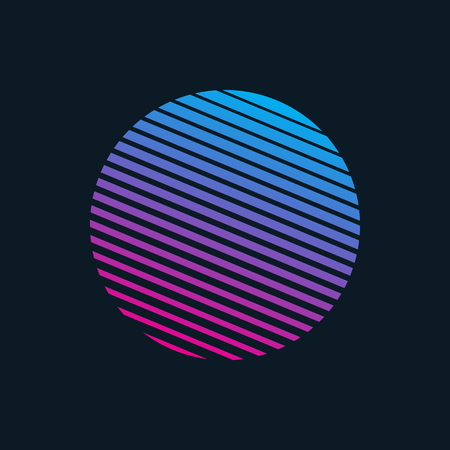 Vector 80s Retro Style Striped Shape Illustration