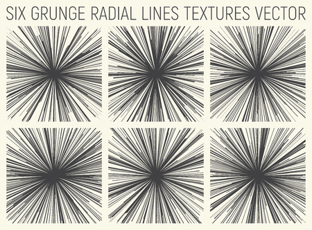 6 Grunge Radial Lines Textures Vector Illustration