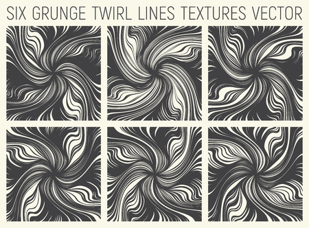 6 Grunge Twirl Lines Textures Vector Illustration