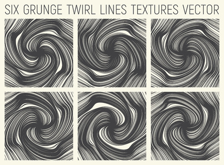 6 Grunge Twirl Lines Textures Vector Illustration