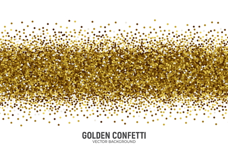 Vector Scattered Golden Confetti White Background Illustration