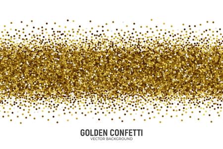 Vector Scattered Golden Confetti White Background Ilustrace