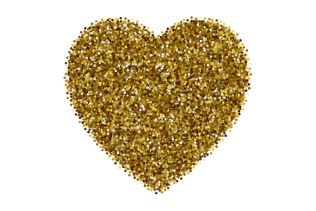 Golden particles forming heart shaped