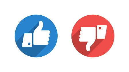 Like and Dislike Vector Flat Icons