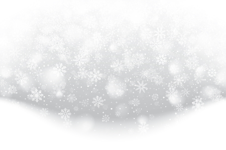 Christmas card with falling snowflakes design.