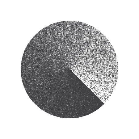 Minimal Vector Stippled Circle Shape. Dotwork Art Illustration. Stippling Background