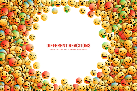Modern 3D Design Vector Emoji Icons with Different Reactions for Social Network Conceptual Art Illustration Isolated on White Background 免版税图像 - 109821122