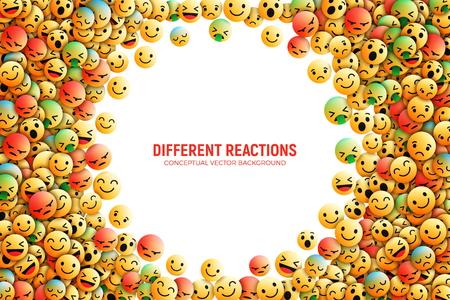 Modernos iconos de emoji vectoriales de diseño 3D con diferentes reacciones para la ilustración de arte conceptual de redes sociales aisladas sobre fondo blanco