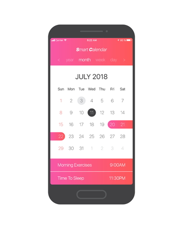 Smart Calendar App Concept July 2018 Page with To Do List and Tasks Vector UI UX Design Mockup for Mobile Phone. Planner Application Template for Smartphone