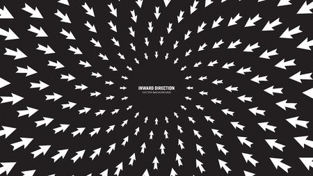 Vector flechas blancas en composición radial divergiendo en dirección hacia adentro sobre fondo negro Ilustración conceptual abstracta