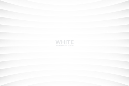 White Clear Blank Subtle Abstract Vector Geometrical Background. Monotone Light Empty Concave Surface. Minimalist Style Wallpaper. Futuristic 3D Illustration