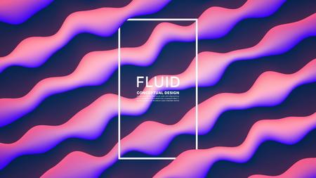 Abstrait de conception fluide de vecteur. Illustration d'art créatif contemporain conceptuel 3D numérique. Dynamic Motion Liquid Bright Glowing Shapes Flow Effect Wallpaper