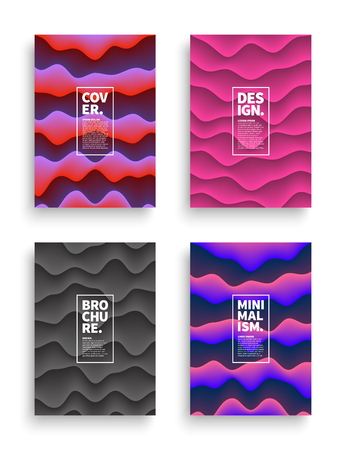 Set of Vector Different Style Brochure Cover Flyer Book Booklet Banner Broadsheet Magazine Poster Placard Presentation Design Templates Mockup. Collection of Geometrical Retrowave Abstract Backgrounds Illustration