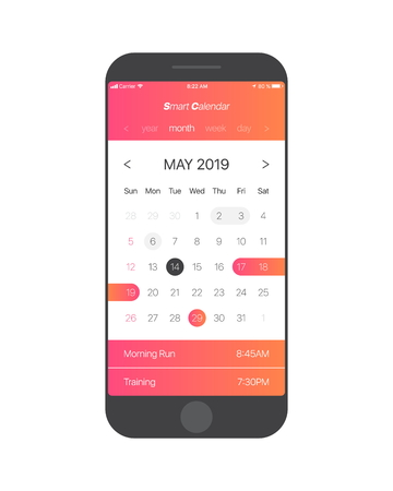 Smart Calendar App Concept May 2019 Page with To Do List and Tasks UI UX Design Mockup Vector for Mobile Phone. Planner Application Template for Smartphone