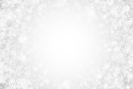 White Christmas Holiday Vector Wallpaper with Realistic Transparent Snowflakes and Lights on Silver Background. Merry Xmas and Happy New Year Illustration. Falling Snow Effect on Light Backdrop