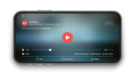 Mobile Video Player Vector UI Concept for Social Network on Photo Realistic Frameless Smartphone Screen Isolated on White Background. Online TV Watching on Device