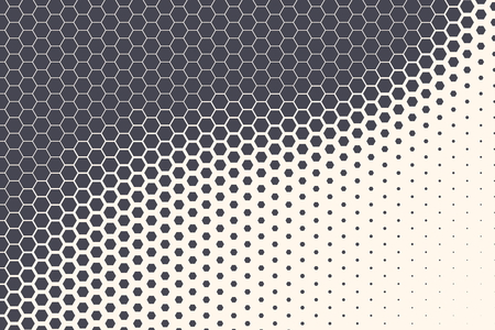 Hexagon Shapes Vector Abstract Geometric Technology Retrowave Sci-Fi Texture Isolated on Light Background. Halftone Hex Retro Simple Pattern. Minimal 80s Style Dynamic Tech Wallpaper Ilustração