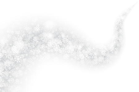 Vector Xmas Swirling Snow Trail Effect with Realistic Transparent Snowflakes and Lights Overlay on Light Silver Background. Merry Christmas and Happy New Year Holidays Illustration