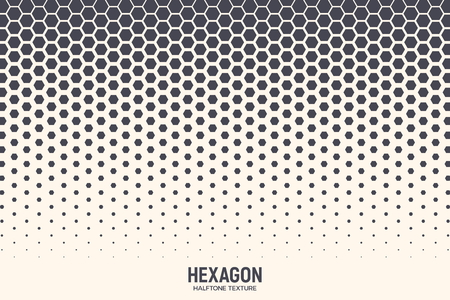 Hexagon Vector Abstract Geometric Technology Background. Halftone Hex Retro Simple Pattern. Minimal Style Dynamic Tech Wallpaper
