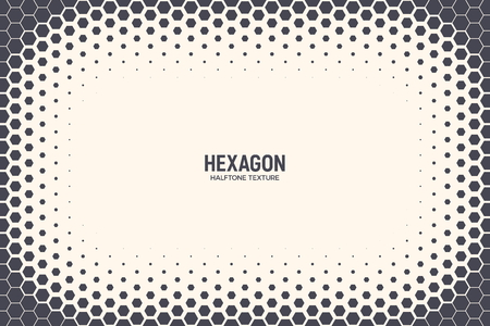 Hexagon Shapes Vector Abstract Geometric Technology Background. Halftone Frame Hex Retro Simple Pattern. Minimal Style 80s Tech Wallpaper Ilustração