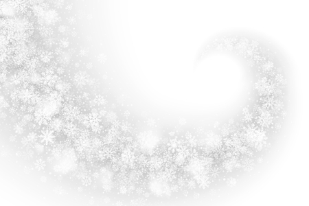 Swirling Snow Effect with Realistic Transparent Vector Snowflakes and Lights Overlay on Light Silver Background. White Christmas Holiday Illustration. Winter Frozen Ice 3D Backdrop