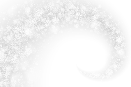 Vector Merry Christmas Swirling Snowflakes and Lights Effect Overlay on Light Silver Background. Xmas and Happy New Year Holidays Illustration. Winter Frozen Ice 3D Backdrop Ilustração