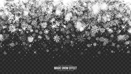 Vector Merry Christmas Magic Falling Snow Border with Realistic Bright Snowflakes and Lights Overlay on Transparent Background. Xmas and Happy New Year Holidays Abstract Illustration. Design Template Ilustração
