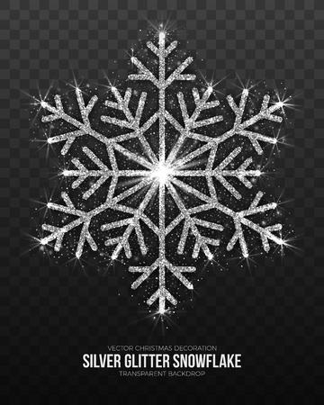 Vector Christmas Symbol Elegant Shining Silver Snowflake Isolated on Transparent Background. Merry Xmas and Happy New Year Illustration Ilustração