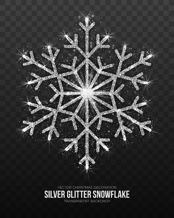 Vector Xmas Decoration Elegant Shining Silver Snowflake Isolated on Transparent Background. Merry Christmas and Happy New Year Symbol Design Element