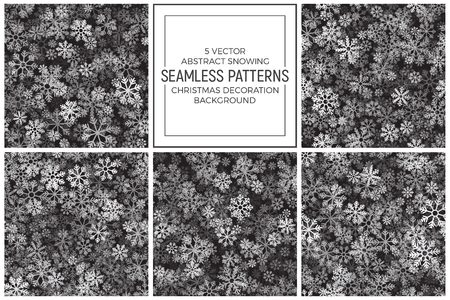 Vector Christmas Decoration Set of 5 Semless Patterns Abstract Snowing Background. Winter Heavy Snowfall Illustration. Merry Xmas and Happy New Year Wallpaper Ilustração