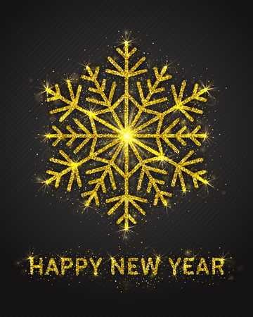 Happy New Year Poster Vector with Bright Golden Sparkling Glitter Stylized Beautiful Snowflake and Lights. New Years Eve Party Illustration. Celebration Greeting Card Template