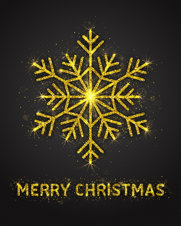 Merry Christmas Poster Vector with Bright Golden Sparkling Glitter Stylized Beautiful Snowflake and Lights. Xmas Party Illustration. Celebration Greeting Card Template
