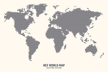 Hex World Map Vector Isolated on Light Background. Hexagonal Halftone Global Geographical Atlas