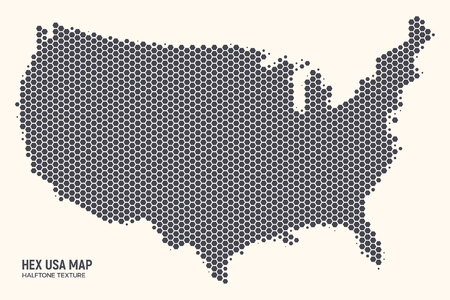 Hex USA Map Vector Isolated on Light Background. Hexagonal Halftone United States of America Wallpaper